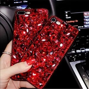 rhinestone red iphone case